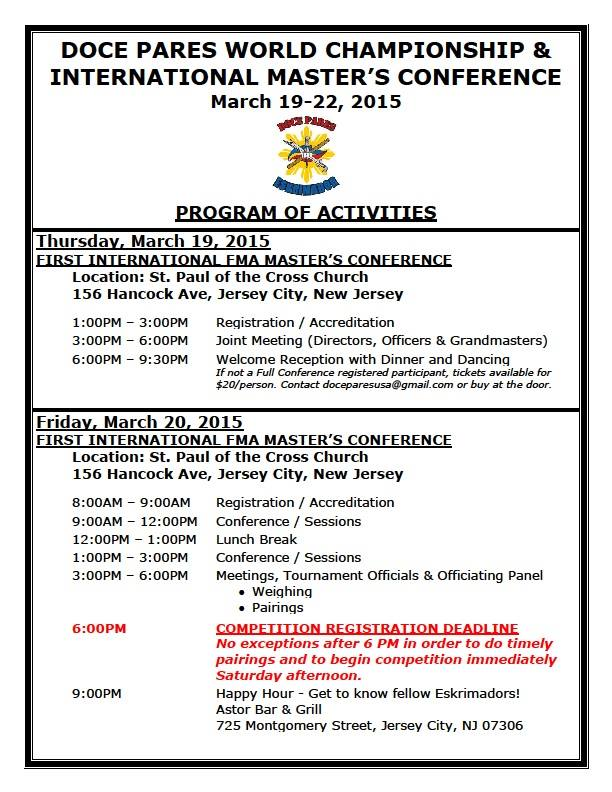 Doce Pares Conference (Updated) Program of Activities - Page 1